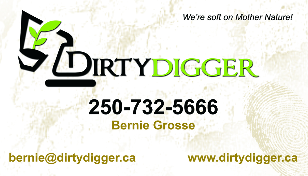 Dirty Digger Business Card Dirty Digger Land Clearing excavating ...